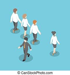 différent, gens, isométrique, marche, autre, manière, homme affaires