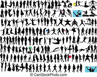 différent, gens, silhouette