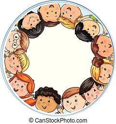 différent, grand, compagnie, joyeux, nationalités, cercle, enfants