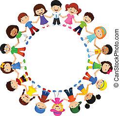différent, heureux, cercle, enfants