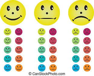 différent, heureux, malheureux, neutre, smileys, colors.