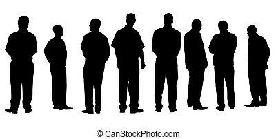 différent, hommes affaires, isolé