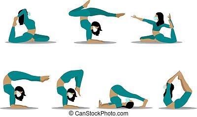 différent, illustration, poses, vecteur, yoga., girl, s, femmes, beau