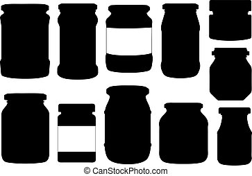 différent, illustration, pots, ensemble