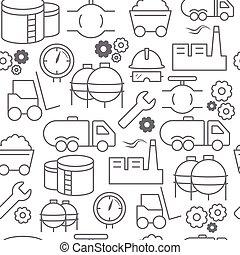 différent, industriel, icônes, style, modèle, seamless, ligne