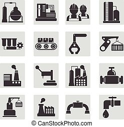 différent, industriel, -, illustration, vecteur, construction, types
