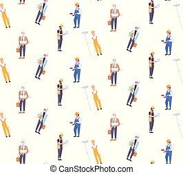 différent, industriel, modèle, ouvriers, hommes, seamless, techniciens, isolé, longueur, entiers, caractères, construction, mâle, constructeurs, dessin animé