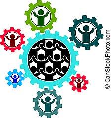 différent, interaction, signe., matrice, créé, symbole, social, système, icons., créatif, personne, vecteur, chaque, société, unique, réagit réciproquement, autre., logo