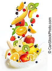 différent, lait, tomber, lot, fruits