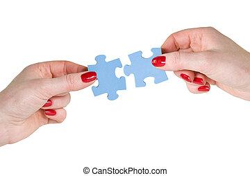 différent, mains, morceaux puzzle
