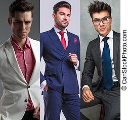 différent, mode, collage, portraits, image, hommes, trois