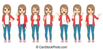 différent, mode, gestes, adolescent, girl, désinvolte