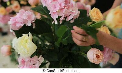 différent, mode, travail, bouquet, moderne, femme, fleuriste, confection, fleurs