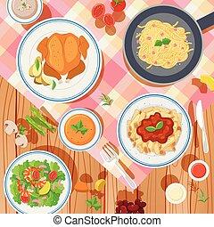 différent, nourriture, conception, fond, table, types