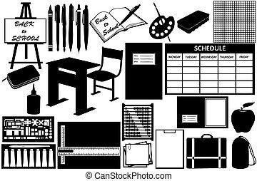 différent, objets, école