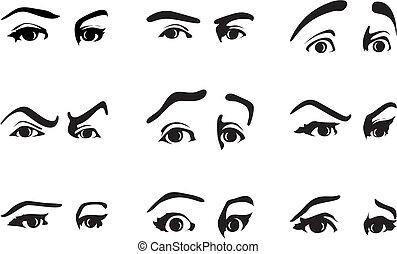 différent, oeil, illustration, vecteur, emotions., exprimer, expression