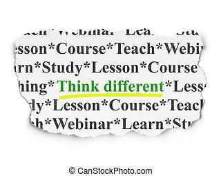 différent, papier, fond, education, penser, concept: