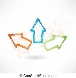 différent, pointage, flèches, trois, directions., brosse, icône