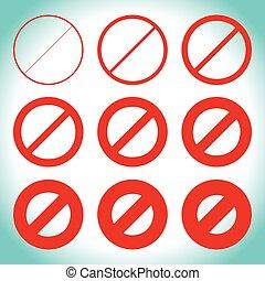 différent, prohibtion, signe, restriction, thicknesses, route