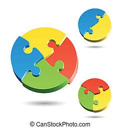 différent, puzzle, formes, puzzle
