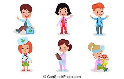 différent, routine, vecteur, enfants, hôpital, blanc, décrit, illustration médicale, vert, croix, costumes, fond, ensemble, isolé