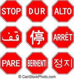 différent, signe, arrêt, pays