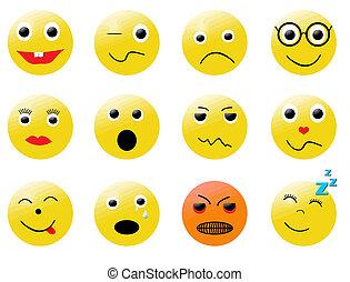différent, smileys, émotions