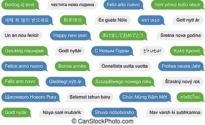 différent, sms, langues, année, nouveau, bulles, heureux
