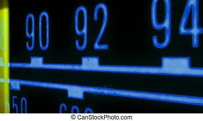 différent, stations, fréquences, courant, incandescent, radio, marqueur, par