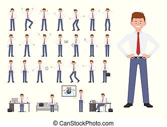 différent, surpris, heureux, bureau affaires, séance, caractère, set., vêtements, triste, jeune, émotions, debout, poses, directeur, conception, fond, blanc, fâché, dessin animé, homme