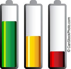 différent, vecteur, niveaux, charge, piles