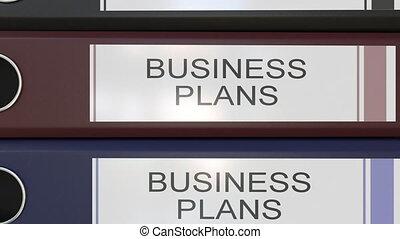différent, vertical, bureau, étiquettes, classeurs, années, business, multicolore, pile, plans