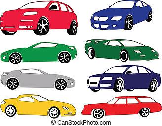 différent, voiture, couleur, collection