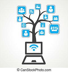 différent, wifi, relier, grou