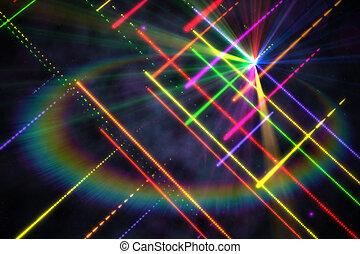 digitalement, fond, disco, engendré, laser