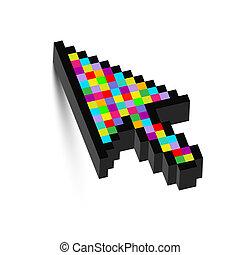 dimensionnel, coloré, trois, flèche