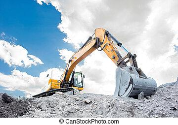 dimensionner, voyante, excavateur