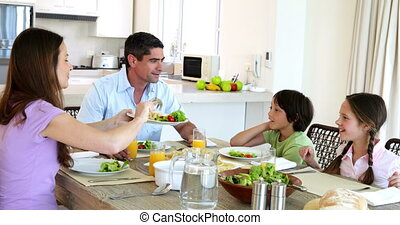 dinant, ensemble, famille, heureux