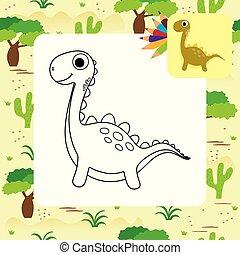 dino, mignon, coloration, dessin animé, livre