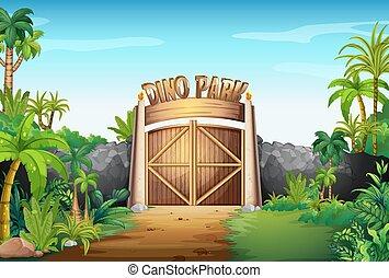 dino, portail, parc