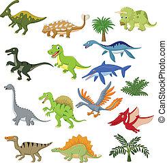 dinosaure, dessin animé, ensemble, collection
