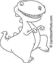 dinosaure, esquissé, danse