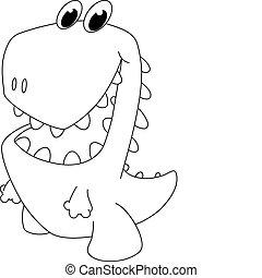 dinosaure, esquissé, dessin animé, gentil