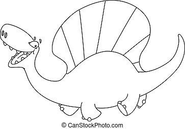 dinosaure, esquissé, dimetrodon