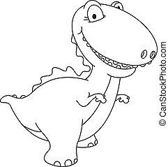 dinosaure, esquissé, rire
