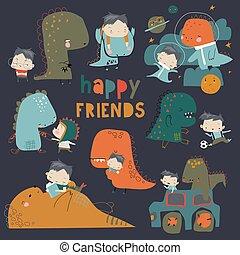dinosaure, garçon, ensemble, rigolote, dessin animé