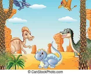 dinosaure, groupe, illustration