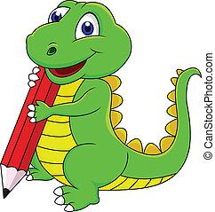 dinosaure, heureux, dessin animé, écriture