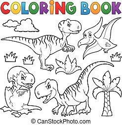 dinosaure, livre coloration