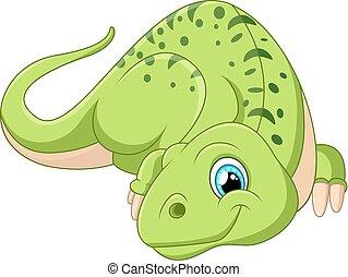dinosaure, poser, dessin animé